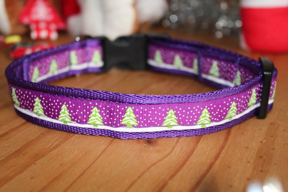 Purple Christmas Trees collar