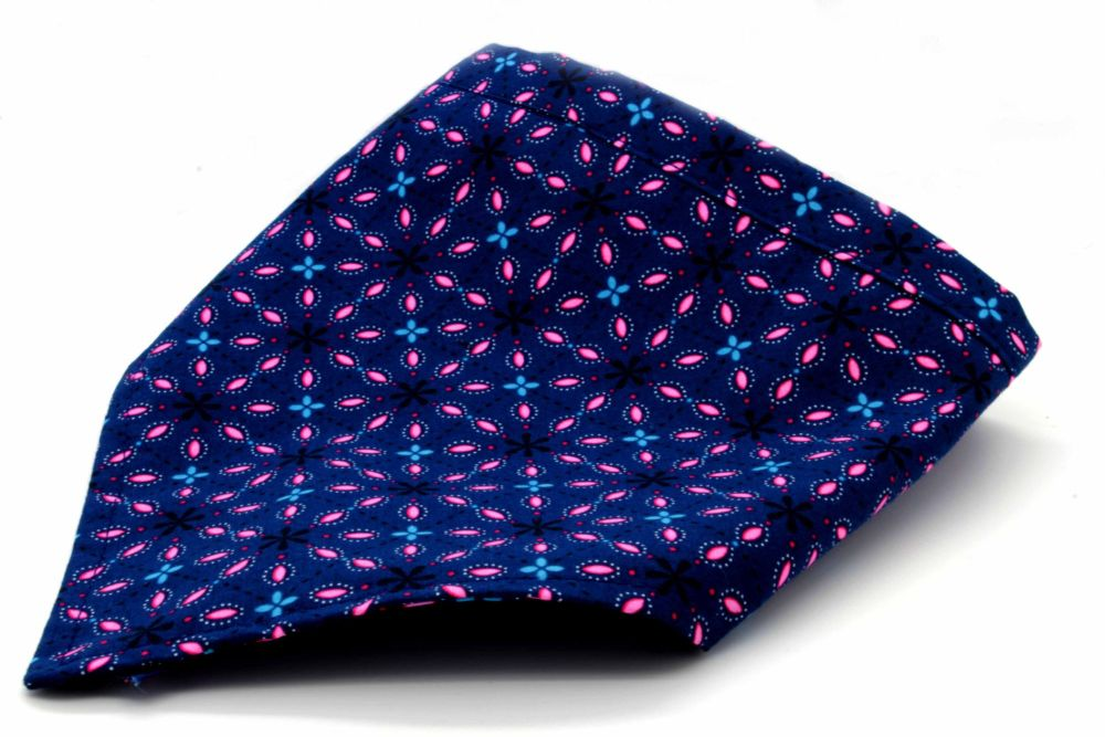 Navy flower square Bandana