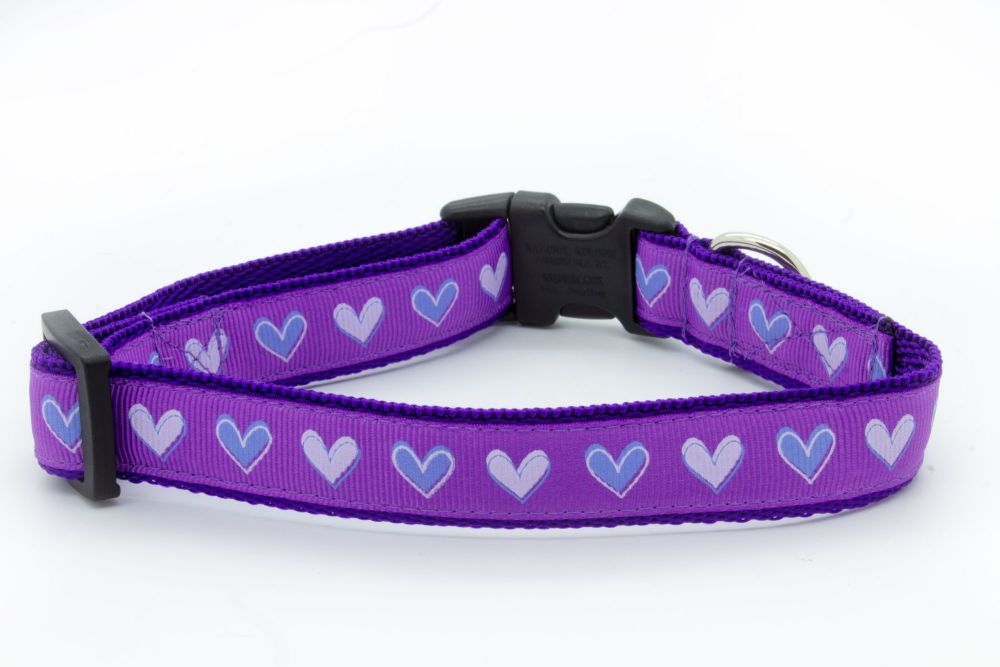 Lilac love hearts Collar