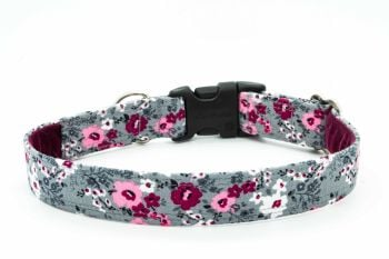 Burgundy/grey Floral Collar