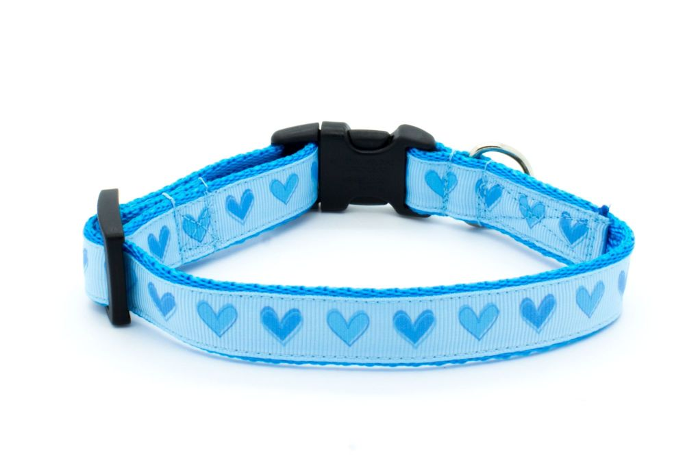 Blue Love Hearts Collar