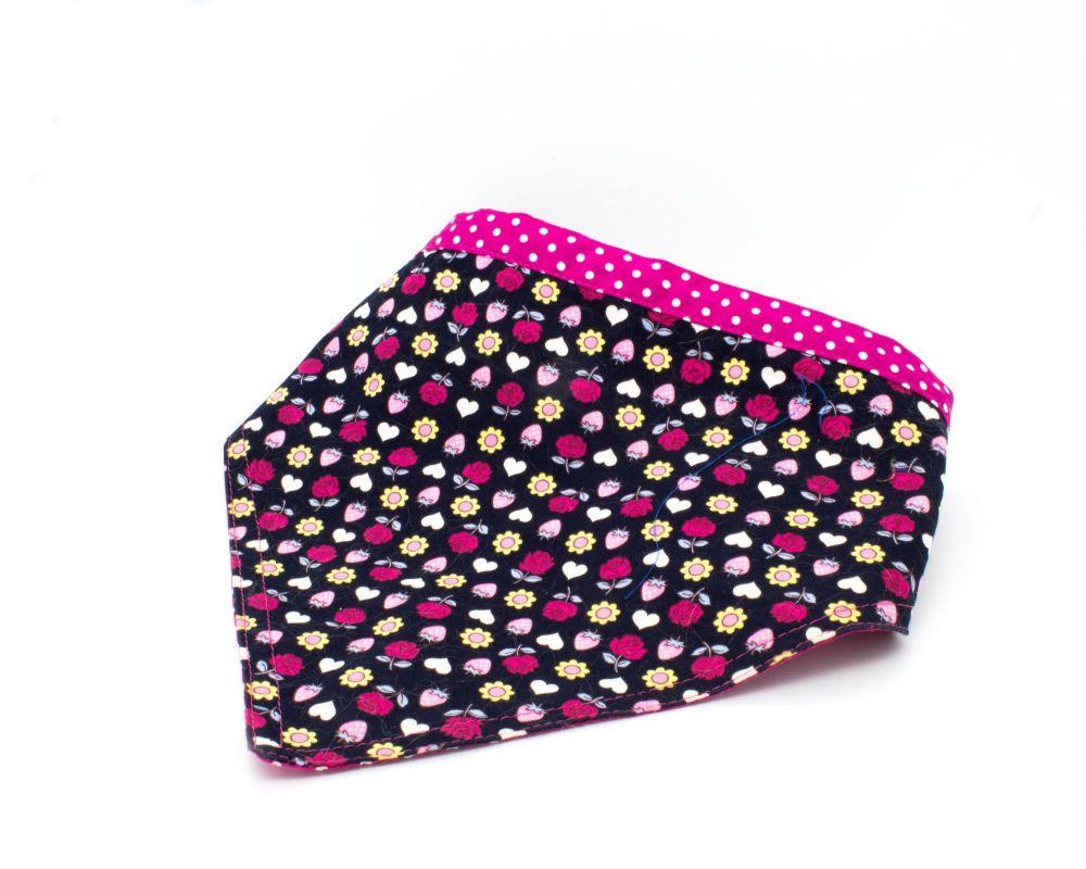 Reversable Navy/Pink floral Bandana