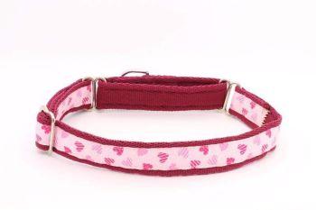 Pink Striped Heart Collar