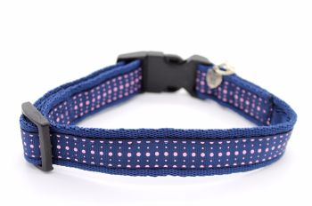 Navy/pink spot Collar