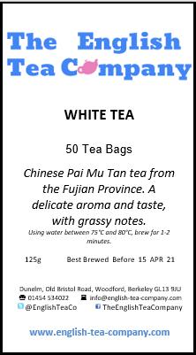 White Tea (Pai Mu Tan) Tea Bags