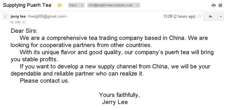Screenshot of email sent to The English Tea Company