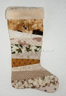 Quilted Christmas Stocking - Beige Multi
