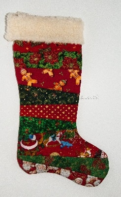 Quilted Christmas Stocking - Red Multi