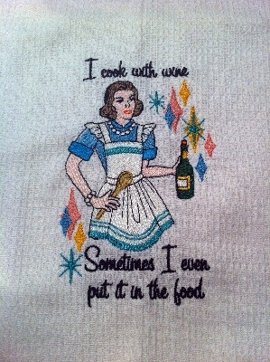 Humorous Tea Towel -  '..Cook with Wine....'