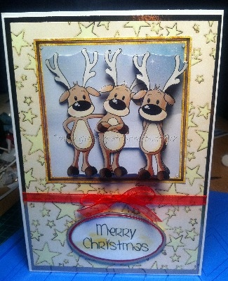 Handmade Rudolph Christmas Card - Merry Christmas