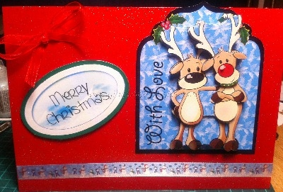 Handmade Rudolph Christmas Card - With Love