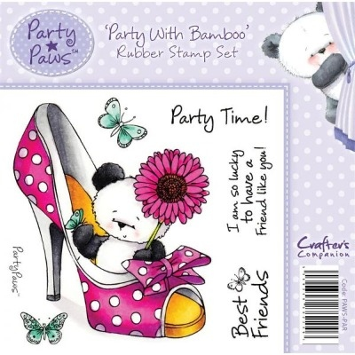 Crafter's Companion Party Paws Range Stamp Set - Party with Bamboo