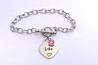 Hand Stamped personalised stainless steel charm padlock heart bracelet