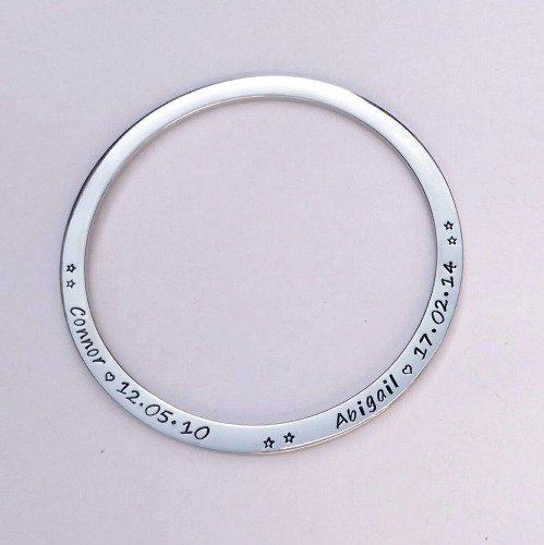 Hand Stamped personalised bangle bracelet