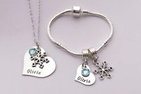Personalised childrens snowflake bracelet and necklace set