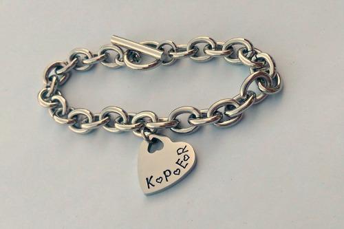Heart charm bracelet (silver)