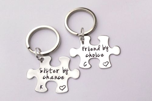 Sister by chance, friend by choice puzzle keyrings