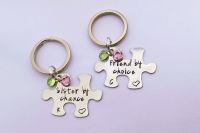 Sister by chance, friend by choice puzzle keyrings with birthstones
