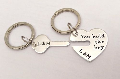 Personalised you hold the key to my heart keyrings