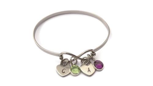 Stainless steel infinity bracelet with birthstones