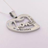Personalised LOVE heart pendant
