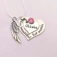 Hand stamped personalised Too beautiful for earth remembrance necklace with pewter wing charm