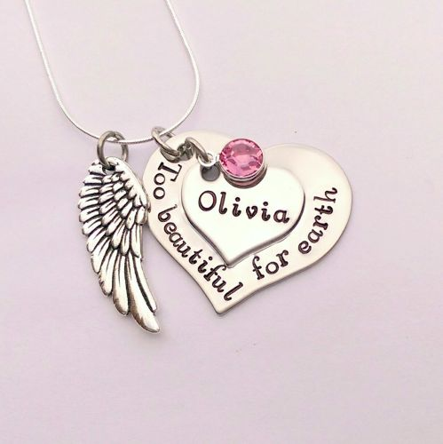 Hand stamped personalised Too beautiful for earth remembrance necklace with