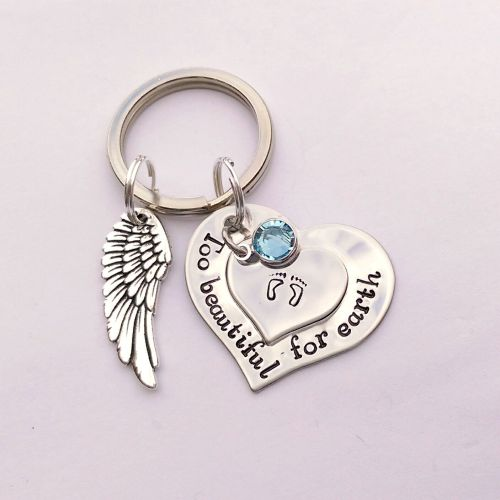 Hand stamped personalised Too beautiful for earth remembrance keyring with