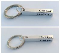 Personalised birth details bar keyring
