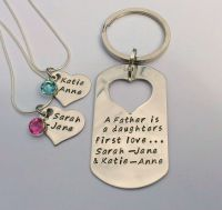 A father is a daughters first love necklace and keyring set