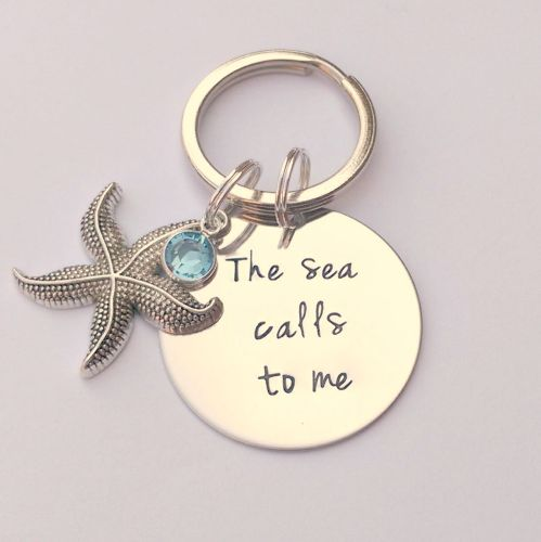 Hand Stamped The Sea Calls to keyring