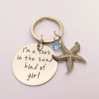 Hand Stamped I'm a toes in the sand kind of girl keyring