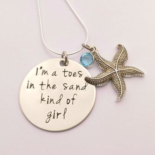 Hand Stamped I'm a toes in the sand kind of girl necklace