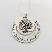Personalised Large family tree washer necklace with pewter family tree charm