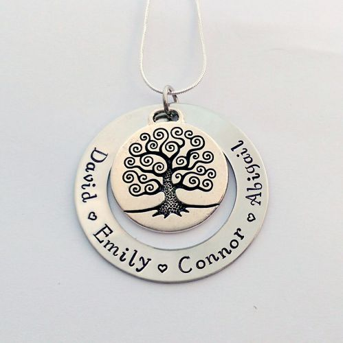 Personalised Large family tree washer necklace with pewter family tree char