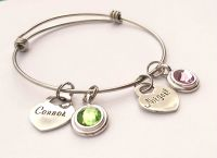 Personalised adjustable stainless steel bracelet with large birthstone charms