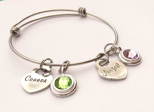 Personalised adjustable stainless steel bracelet with large birthstone char
