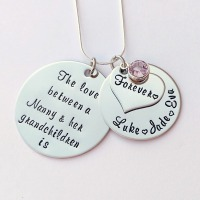 Personalise d The Love between a Nanny and her Grandchildren is forever necklace