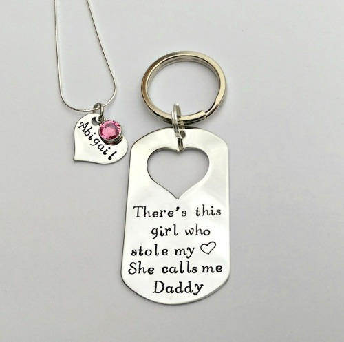 There's this girl who stole my heart personalised necklace and keyring set