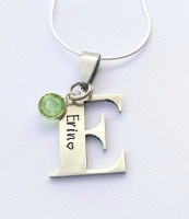 Personalised Initial necklace stamped with name or date