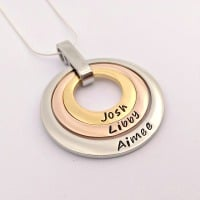 Silver, gold and rose gold Offset floating washer necklace