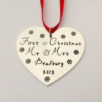 Hand Stamped personalised Couples first Christmas tree decoration ornament