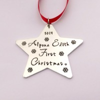 Hand Stamped personalised Babys first christmas Star Christmas tree decoration