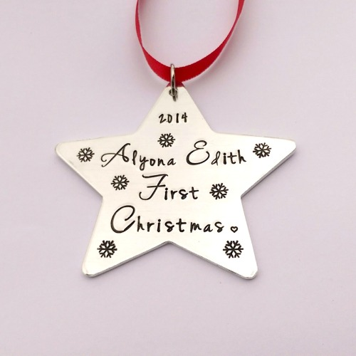 Hand Stamped personalised Babys first christmas Star Christmas tree decorat