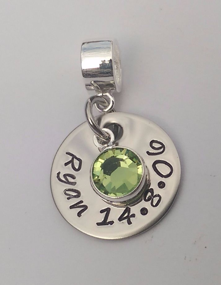 Hand stamped personalised bracelet charm