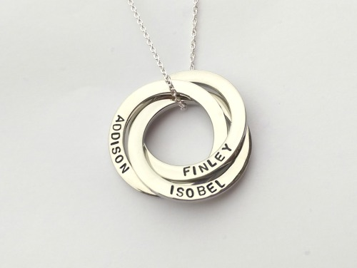 Personalised triple interlinked circles necklace