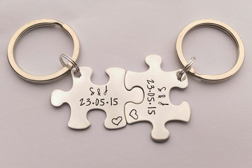 Personalised puzzle jigsaw piece Initial and date keyrings