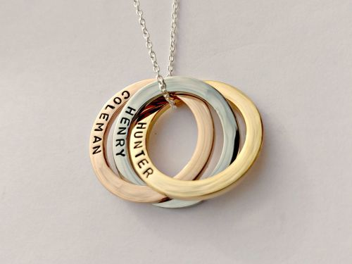 Personalised triple interlinked circles necklace mixed metal