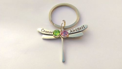 Hand stamped personalised dragonfly keyring