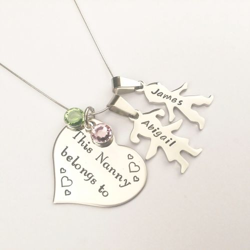 Personalised This Nanny Belongs to necklace, with boy and girl figures
